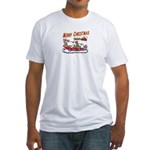 Santa and Candy Cane House Fitted T-Shirt