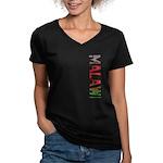Malawi Stamp Women's V-Neck Dark T-Shirt