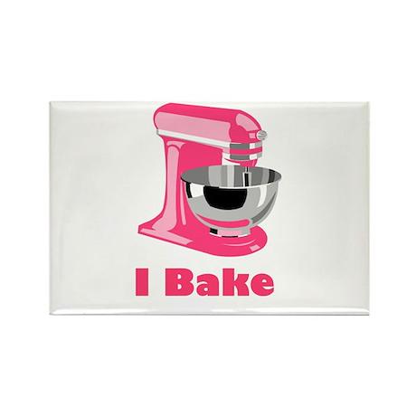 I Bake Pink Rectangle Magnet