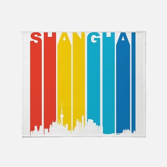 Retro Shanghai Skyline Throw Blanket