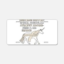 Unicorns Support Spinal Mus Aluminum License Plate