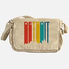 Retro Detroit Skyline Messenger Bag