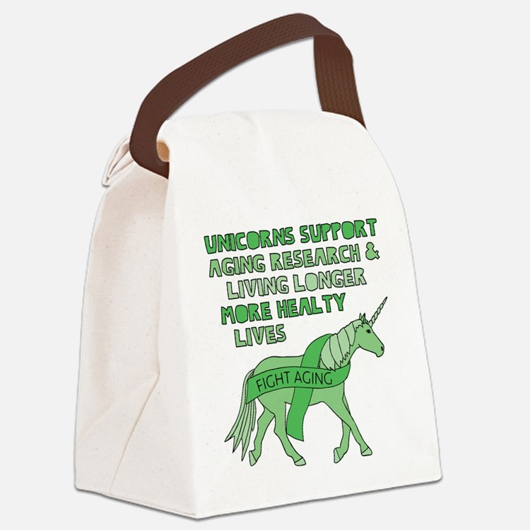 Unicorns Support Ageing Research Canvas Lunch Bag