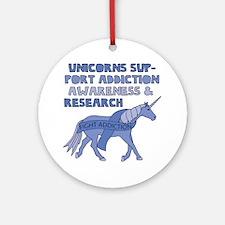 Unicorns Support Addiction Awarenes Round Ornament