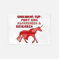 Unicorns Support Aids Awareness & R 5'x7'Area Rug