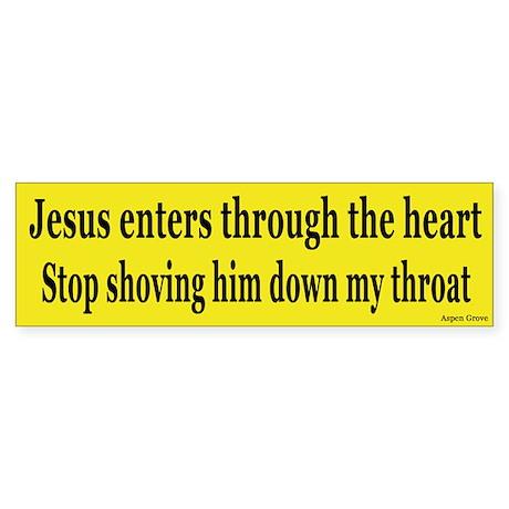 Shoving Jesus Bumper Sticker