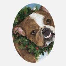 Unique Bulldog christmas Oval Ornament