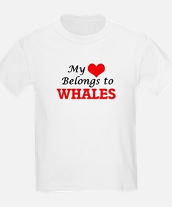 My Heart Belongs to Whales Massachusetts T-Shirt