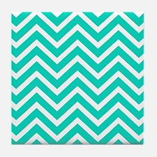 Teal Blue Chevron Pattern Tile Coaster