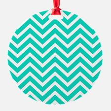 Teal Blue Chevron Pattern Ornament