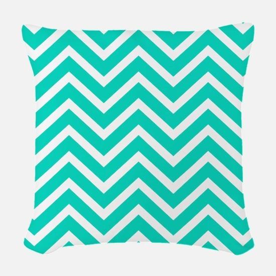 Teal Blue Chevron Pattern Woven Throw Pillow
