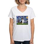Starry Night / Collie (tri) Women's V-Neck T-Shirt