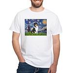 Starry Night / Collie (tri) White T-Shirt