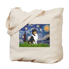 Starry Night / Collie (tri) Tote Bag