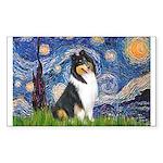 Starry Night / Collie (tri) Sticker (Rectangle)