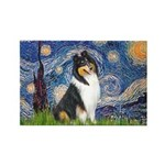 Starry Night / Collie (tri) Rectangle Magnet (10 p
