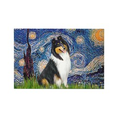 Starry Night / Collie (tri) Rectangle Magnet