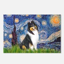 Starry Night / Collie (tri) Postcards (Package of