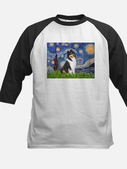 Starry Night / Collie (tri) Kids Baseball Jersey