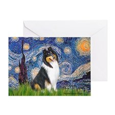 Starry Night / Collie (tri) Greeting Card