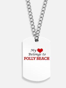My Heart Belongs to Folly Beach South Car Dog Tags