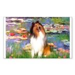 Lilies (2)/Collie (1S) Sticker (Rectangle)