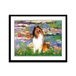 Lilies (2)/Collie (1S) Framed Panel Print