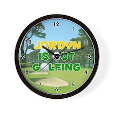 Jordyn is Out Golfing (Gold) Golf Wall Clock
