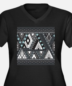 Native Patte Women's Plus Size V-Neck Dark T-Shirt