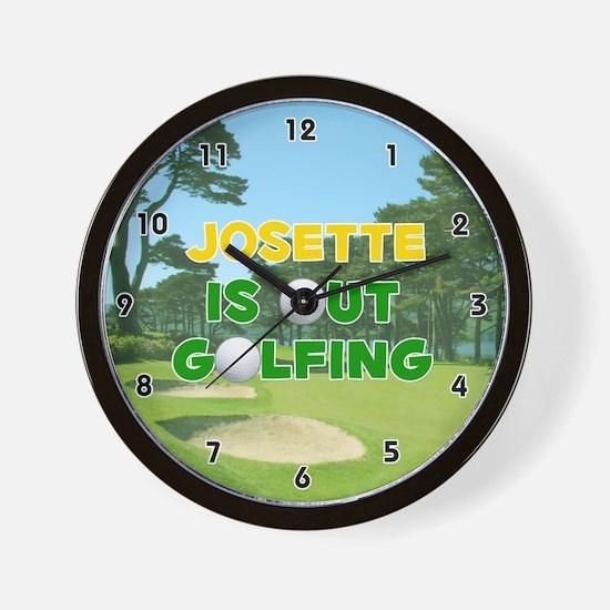 Josette is Out Golfing (Gold) Golf Wall Clock