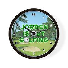 Jorden is Out Golfing (Green) Golf Wall Clock