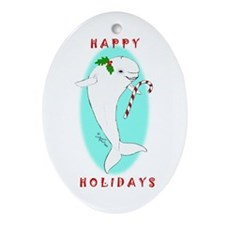 Christmas Beluga Oval Ornament