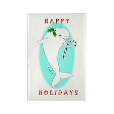 Christmas Beluga Rectangle Magnet