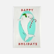 Christmas Beluga Rectangle Magnet