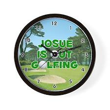 Josue is Out Golfing (Green) Golf Wall Clock