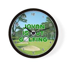 Jovan is Out Golfing (Green) Golf Wall Clock