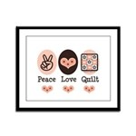 Peace Love Quilt Quilting Framed Panel Print
