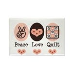 Peace Love Quilt Quilting Rectangle Magnet (100 pa