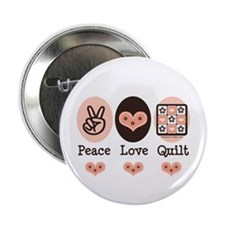 """Peace Love Quilt Quilting 2.25"""" Button (10 pack)"""