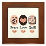 Peace Love Quilt Quilting Framed Tile