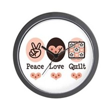 Peace Love Quilt Quilting Wall Clock