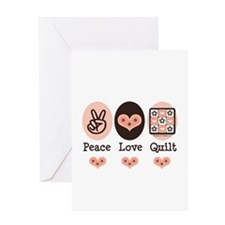 Peace Love Quilt Quilting Greeting Card