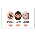 Peace Love Quilt Quilting Rectangle Sticker