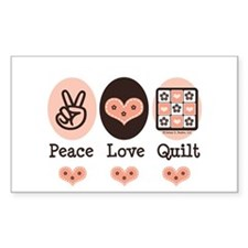 Peace Love Quilt Quilting Rectangle Stickers