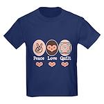 Peace Love Quilt Quilting Kids Dark T-Shirt