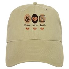 Peace Love Quilt Quilting Baseball Cap