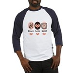 Peace Love Quilt Quilting Baseball Jersey