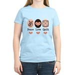 Peace Love Quilt Quilting Women's Light T-Shirt