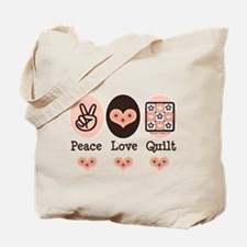 Peace Love Quilt Quilting Tote Bag