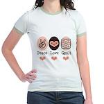 Peace Love Quilt Quilting Jr. Ringer T-Shirt